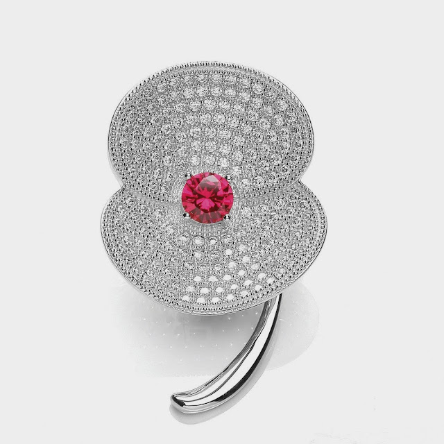 Bouton bejewelled poppy brooch