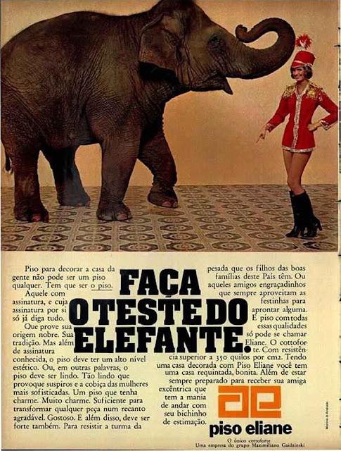 Propaganda do Piso Eliane que convoca seus clientes a fazerem um teste de resistência do produto.