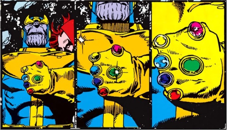 3 panels of 'camera' pulling in from medium shot of Thanos to close-up of his hand in gem-laden glove