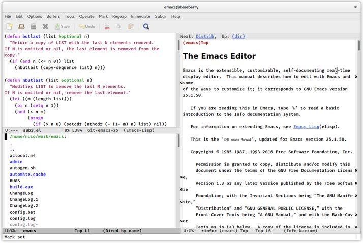 GNU EMACS open source text editor