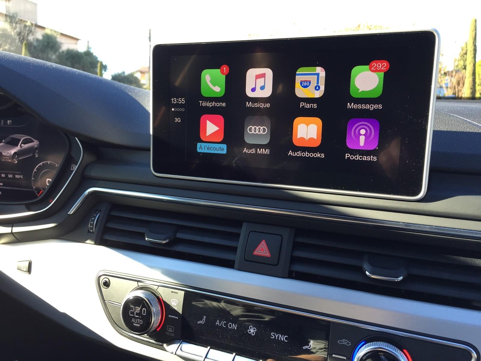 voiture du futur smartphone appel d 39 urgence conduite connect e les nouveaut s de l 39 audi a4. Black Bedroom Furniture Sets. Home Design Ideas