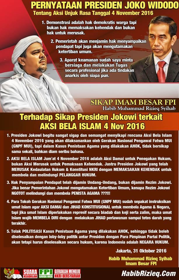 Ini Sikap Imam Besar FPI Tanggapi Sikap Presiden Terkait Aksi Bela Islam 4 November