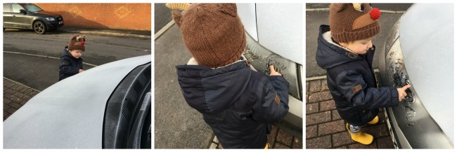 collage-of-toddler-kibbling-on-frosty-car-with-his-finger