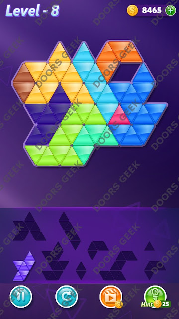 Block! Triangle Puzzle 9 Mania Level 8 Solution, Cheats, Walkthrough for Android, iPhone, iPad and iPod