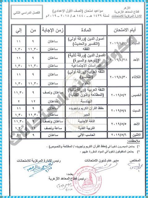 جدول إمتحانات الصف الاول الاعدادى الازهرى 2019 اخر العام (الترم الثانى)