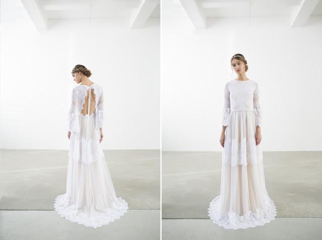 Przepiękna koronkowa suknia ślubna z odkrytymi plecami od Joanna Niemiec Atelier.