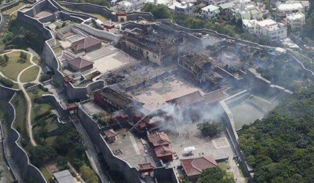 Foto Udara, Kastil Shuri Setelah Kebakaran