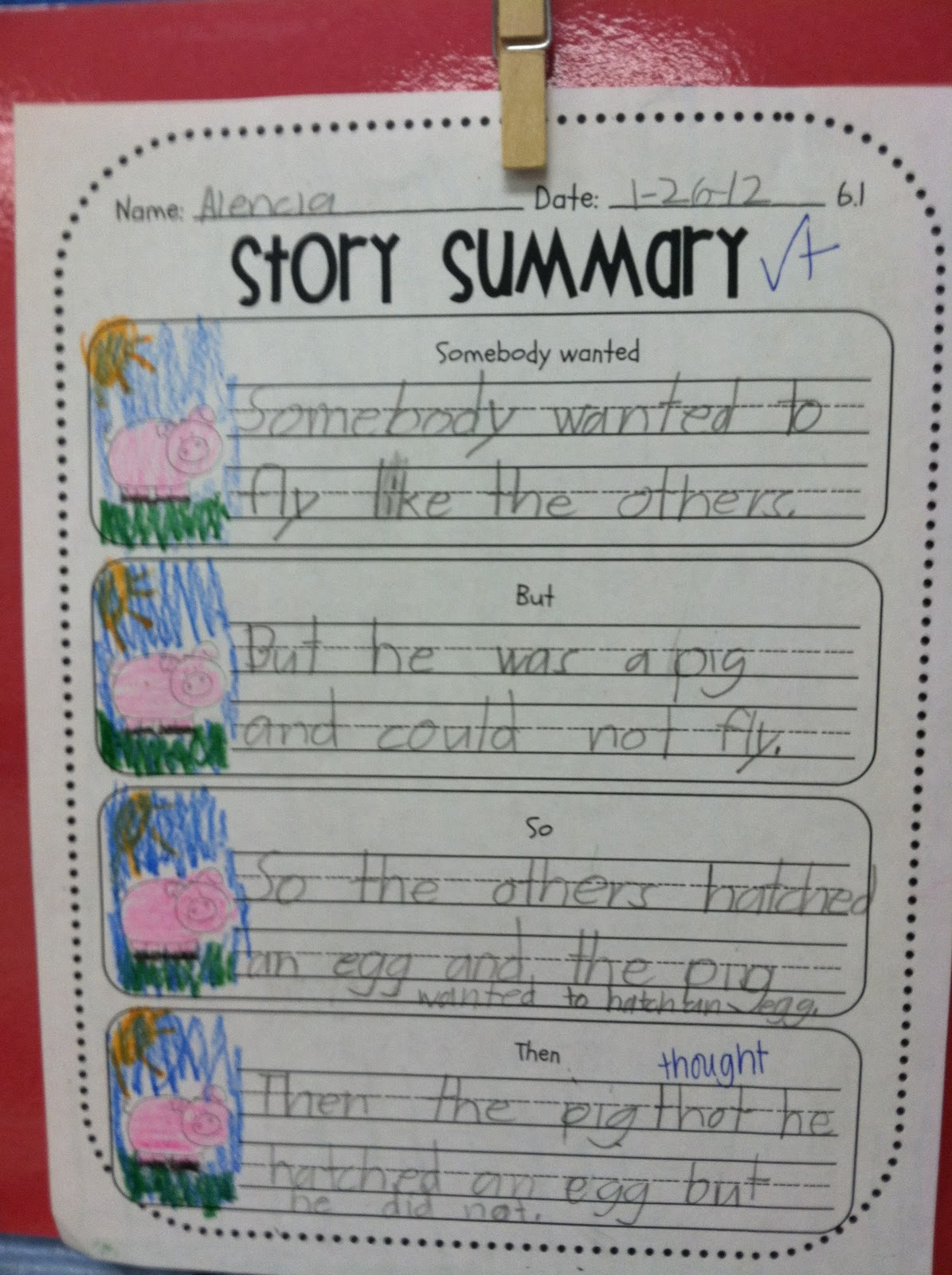 First Grade Fabulous Fish Story Summary Pages