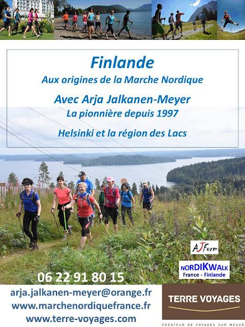 Voyages en Finlande, aux origines de la Marche Nordique, avec Arja Jalkanen-Meyer, la pionnière depuis 1997