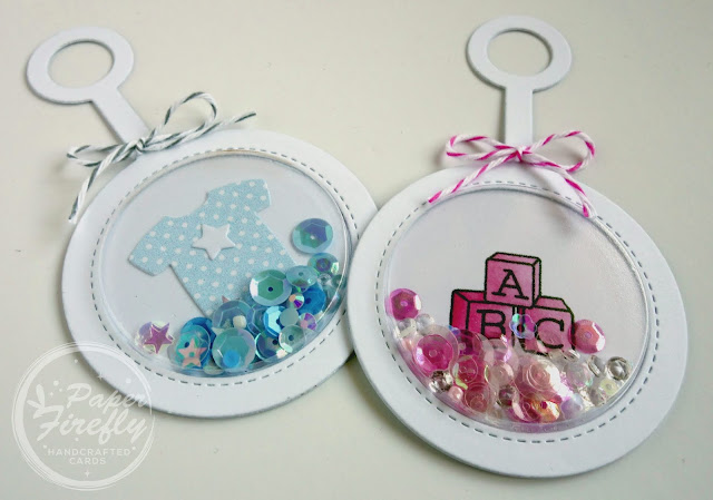 Baby rattle tags for boys and girls, using MFT Baby Rattle and Baby Clothes Die-namics, and Hello Little One stamps