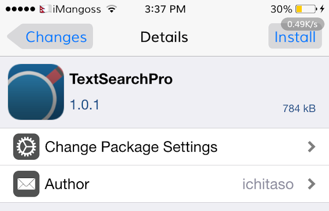 TextSearchPro is a jailbreak tweak which lets you search for a text easily using via Flipswitch and Activator