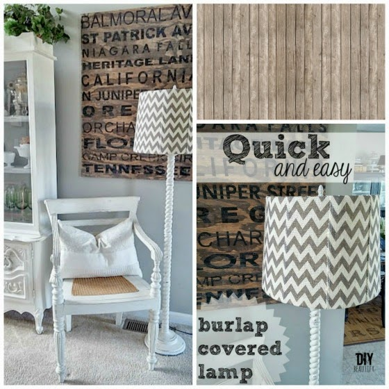 Cover a Lampshade in Burlap www.diybeautify.com
