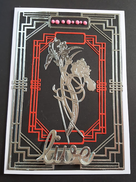 Live - Art Deco flower on Art Deco Frame - 7x5in card