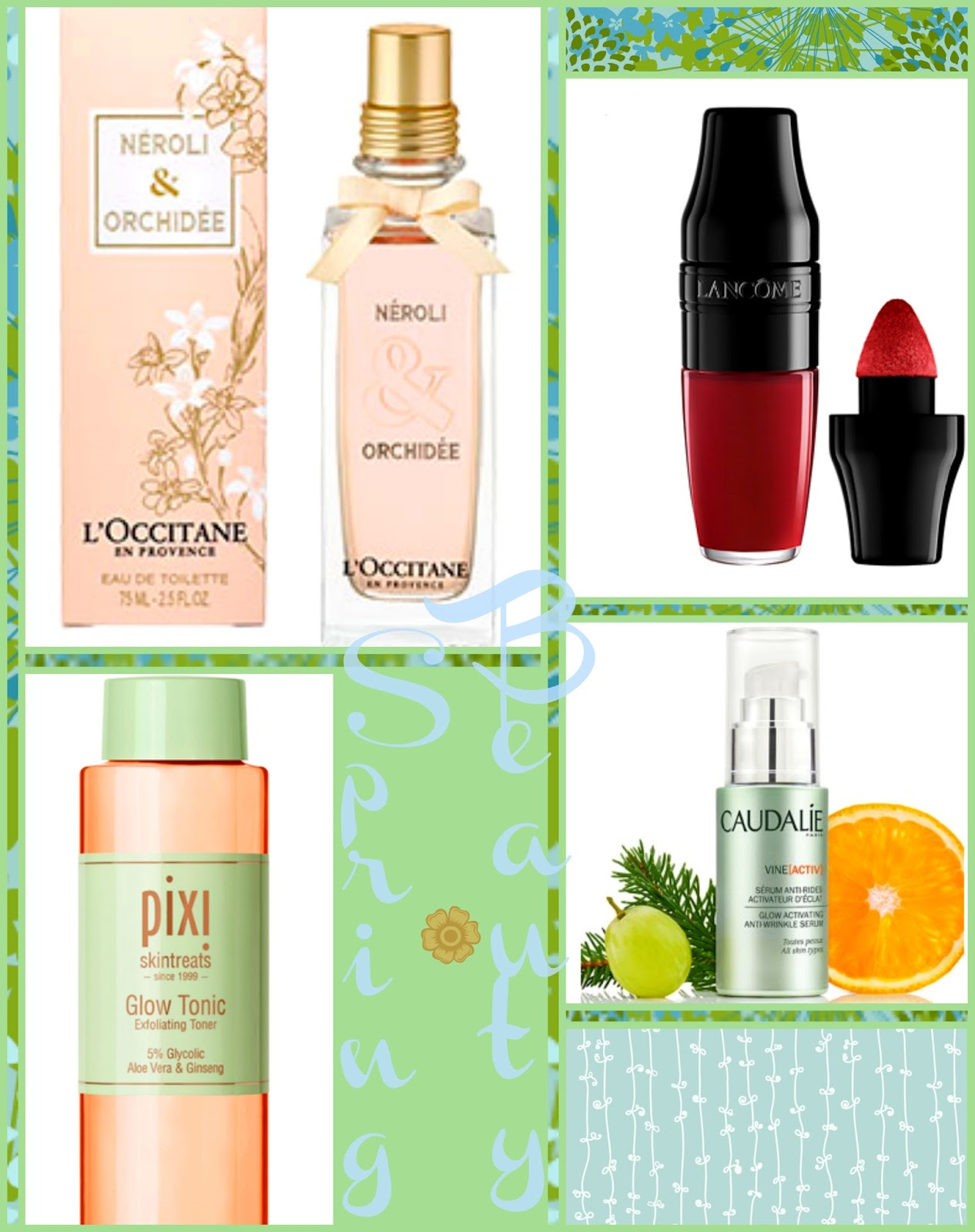Spring Beauty Wishlist, L'Occitane fragrances, Spring Beauty, Caudalie Vine Active collection, caudalie beauty, lancome matte shaker, lancome beauty, pixi glow tonic, pixi beauty
