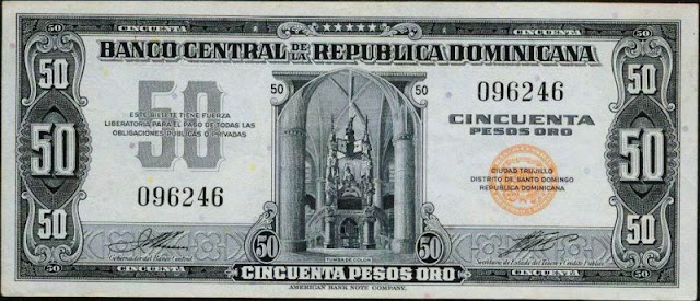 Dominican currency pesos paper money