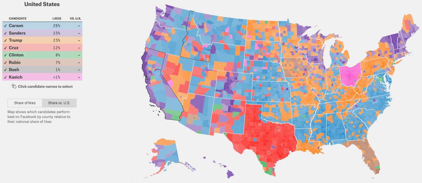 Map shows which candidates perform best on Facebook by county relative to their national share of likes