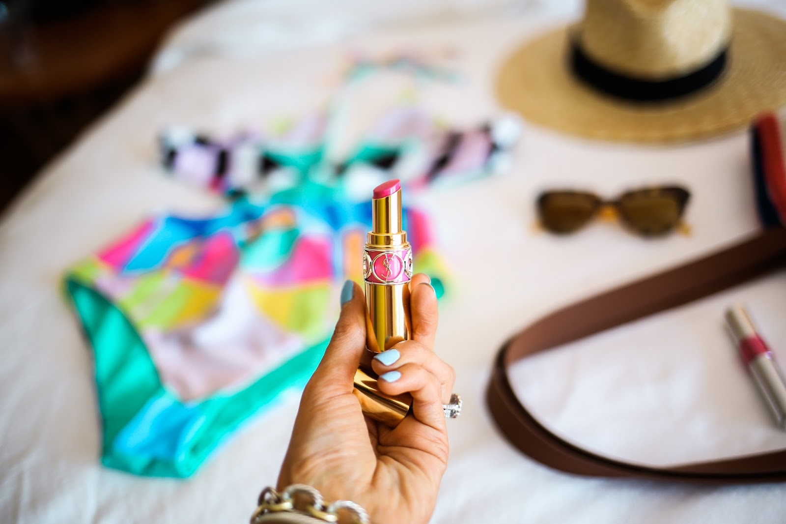 mara hoffman two piece swimsuit, YSL trapeze pink, YSL oil lipstick lipgloss, Brixxton straw hat, emily gemma, the saguaro, palm spring california, The sweetest thing blog, topshop cover up with tassels, white cover up with tassels, pinterest beach vacation outfit ideas, pinterest summer outfit ideas, pinterest swimsuit outfit ideas