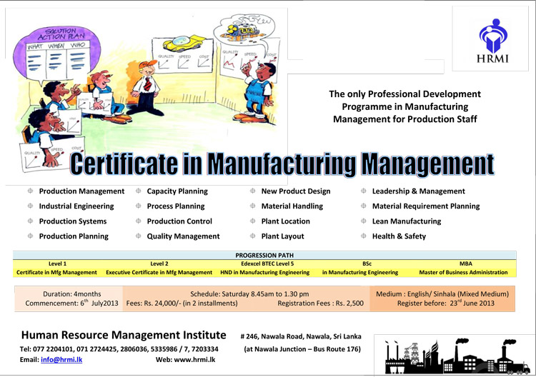 Certificate In Manufacturing Management Human Resource Management