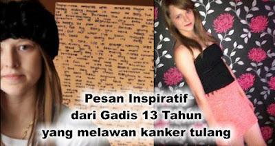 Pesan Inspiratif dari Gadis 13 Tahun yang melawan kanker tulang