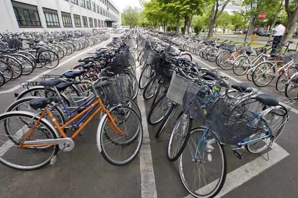 Паркинг с много велосипеди