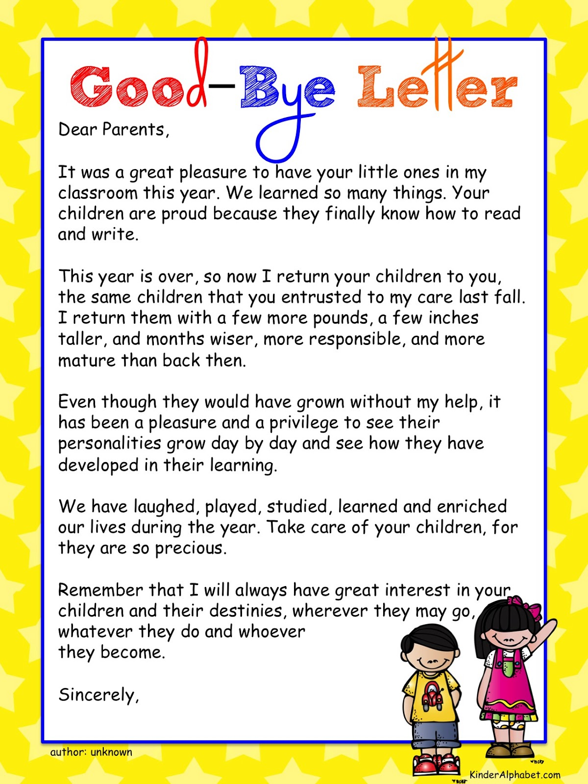 Student teacher writing a letter to parents