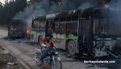 Bus yang hendak evakuasi korban perang Allepo