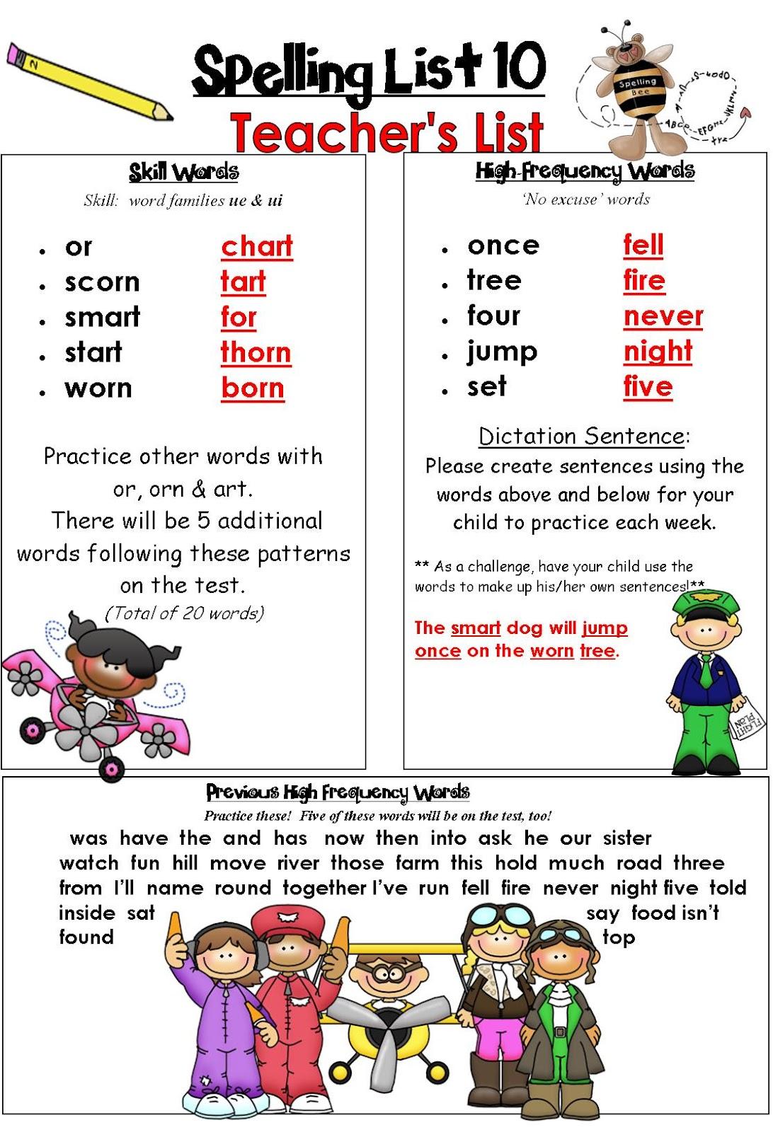 Rockin Teacher Materials Spelling Lists That Make Sense