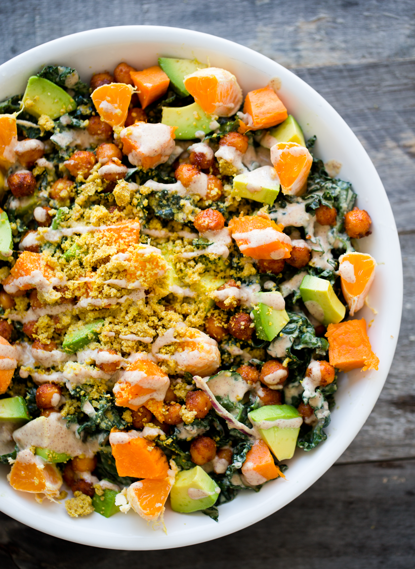 The Eureka! Bowl. Peanutty Kale, Smoky-Maple Chickpeas, Sweet Potato, Avocado.