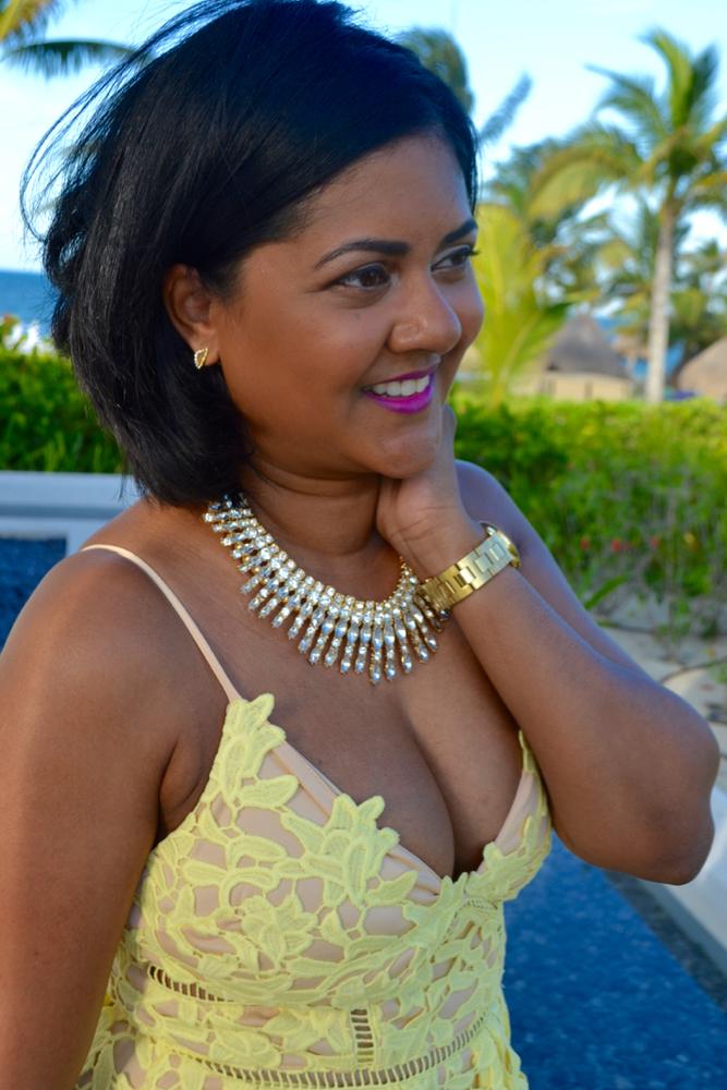 yellow lace dress summer lace dress