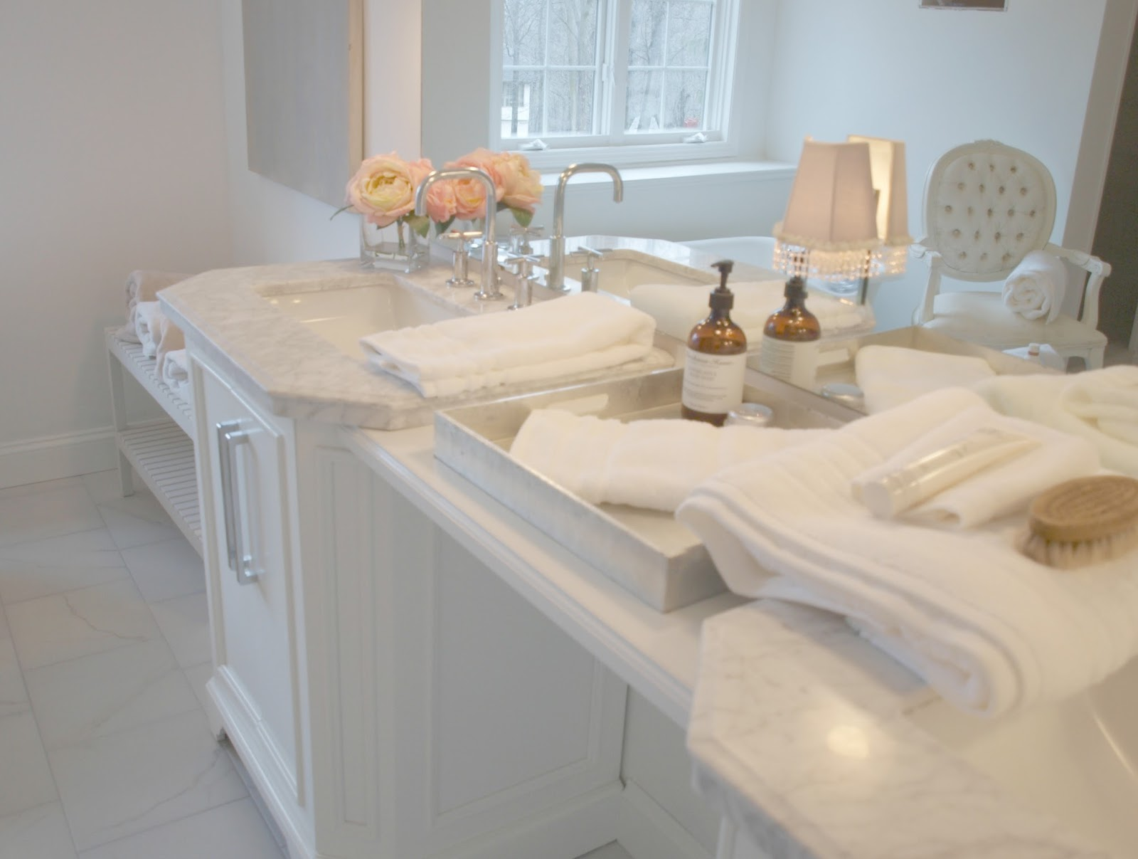 Romantic French inspired white master bathroom - Hello Lovely Studio