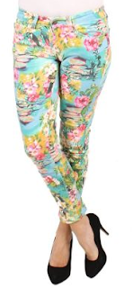 Tropical Print Jeans - Ice
