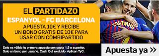 betfair promocion 10 euros Espanyol vs Barcelona 8 diciembre