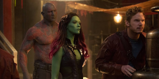 "Dave Bautista, Zoe Saldana, and Chris Pratt in ""Guardians of the Galaxy Vol. 2"""