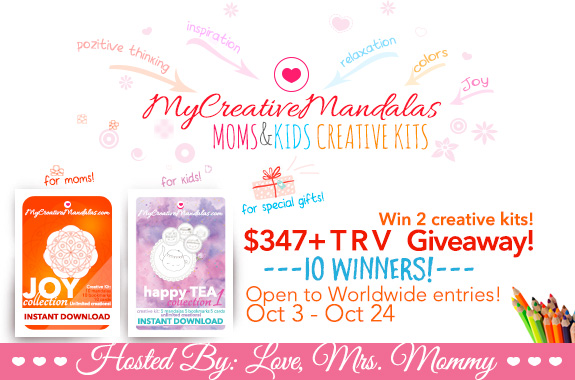 10 Winners will receive:  Both a Mom and Child Creative Kit, including the JOY and happy TEA collections! A $347+ TRV giveaway!