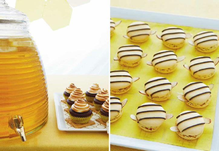 Honey Bee Birthday Desserts Table Ideas - via BirdsParty.com