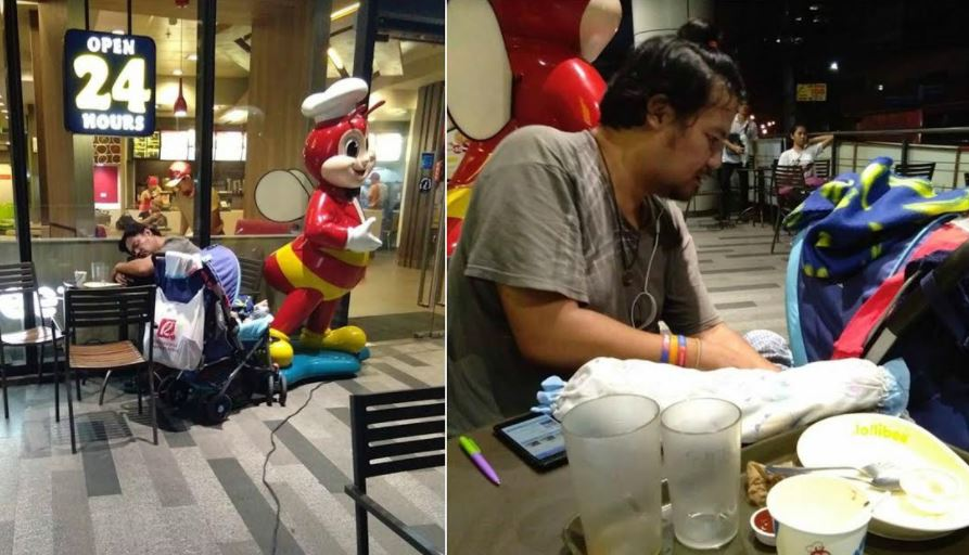 Man who lost everything due to wife's gambling lives with son in Jollibee