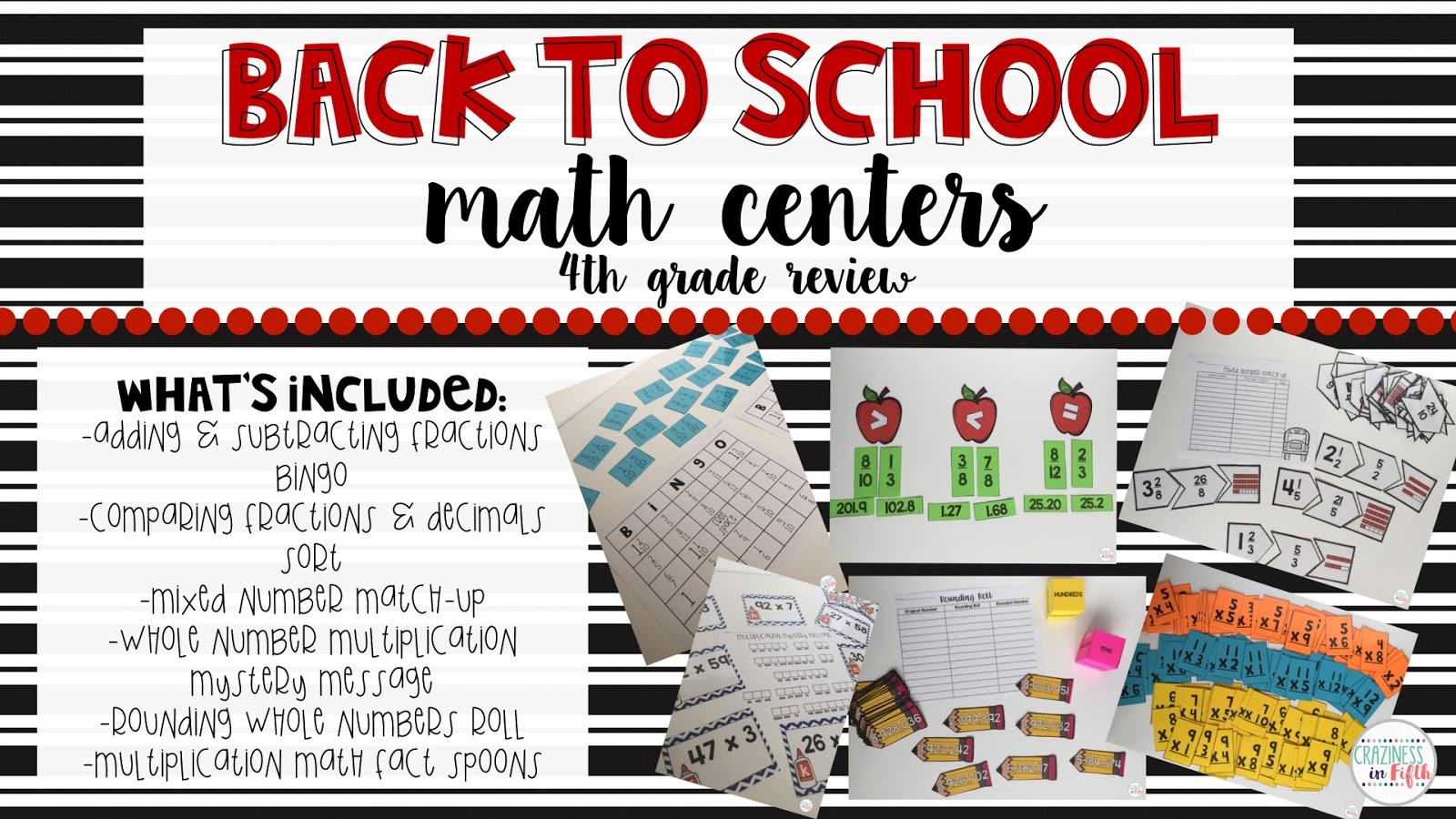 Craziness In Fifth Back To School Math Centers 4th Grade Review