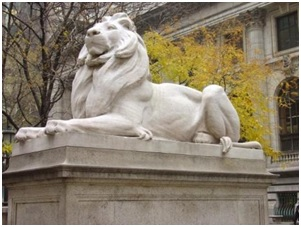 According to Henry Hope Reed in his book, The New York Public Library, about the architecture of the Fifth Avenue building, the sculptor Edward Clark Potter obtained the commission for the lions on the recommendation of Augustus Saint-Gaudens, one of America's foremost sculptors.