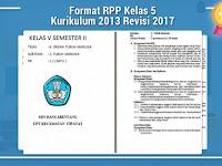 Format RPP Kelas 5 Kurikulum 2013 Revisi 2017