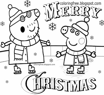 Cool fun skating playing on the ice rink simple drawing Peppa pig Christmas coloring pages for Pre K