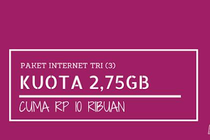 Paket 4G LTE Tri 2,75GB Cuma 10 ribu (3 hari), Caranya Begini?