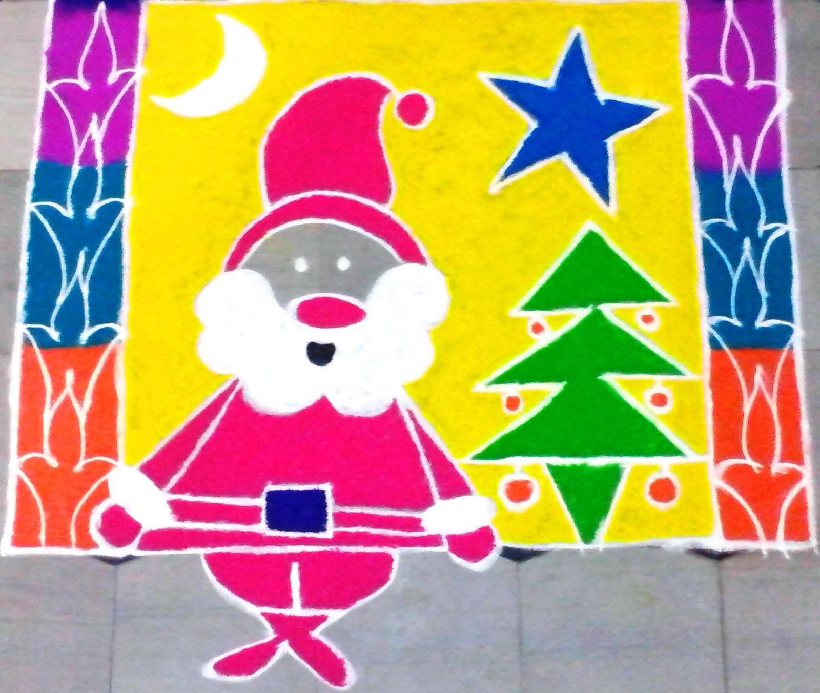simple and easy christmas rangoli designs
