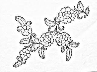 Saree design drawing for hand embroidery and machine embroidery/floral design drawing for embroidery