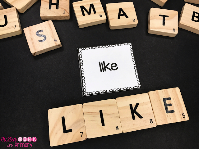 spelling sight words using scrabble tiles