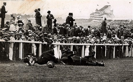 The tragic aftermath of Emily Wilding Davison's protest at the Derby, Epsom in 1913