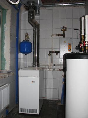 напольный газовый котел в системе отопления