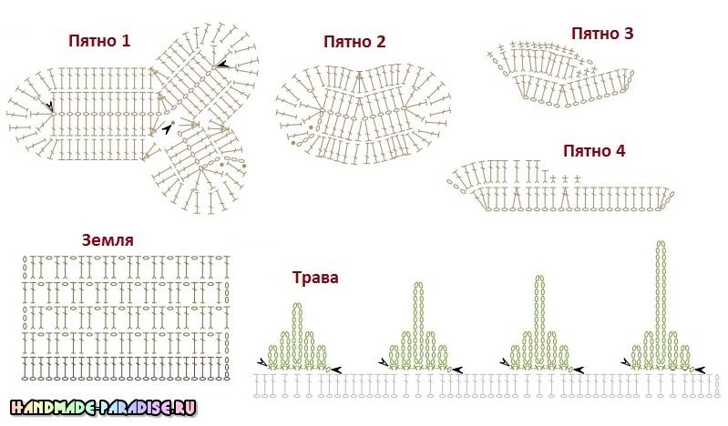 Поросенок на травке - схемы вязания детского коврика (4)
