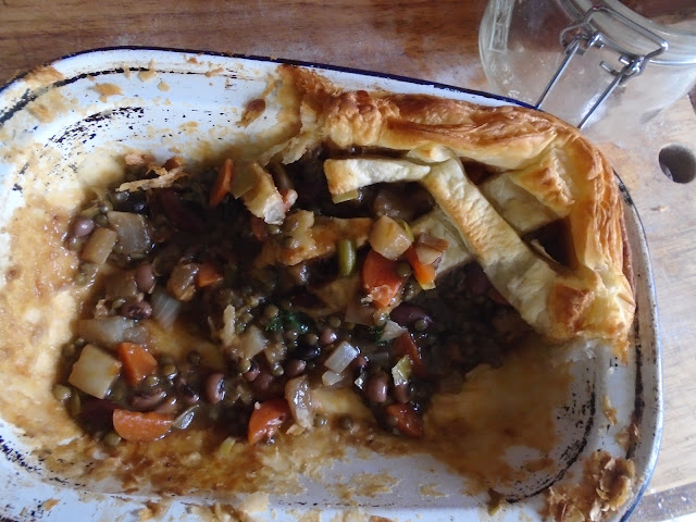 Vegan bean and vegetable pie in tin
