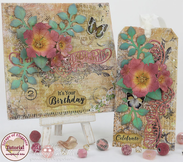 Floral Mixed Media Card/Tag Set by Tracey Sabella with Heartfelt Creations VIDEO TUTORIAL featuring the May 2017 Scraps of Elegance Creativity Add Ons.