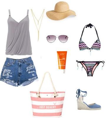 Dia de praia - calçoes de ganga, top de alças, bikini, sandálias de cunha, saco de praia, óculos de sol, chpéu de palha e protector solar, colar comprido